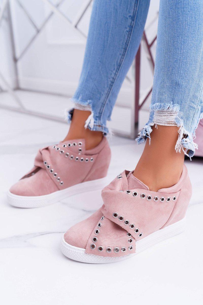 Women's Wedge Sneakers Pink LU BOO Margo