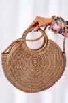 Braided Round Bag BRUNO ROSSI Camel
