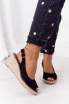 Braided Wedge Sandals Black Las Palomas