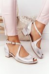 Leather High Heel Sandals Maciejka 04509-45 Beige-Gold