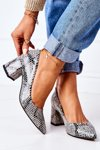 Leather Pumps With Animal Pattern Lewski Shoes 2801 Black-Blue