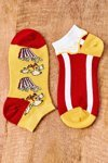 Mismatched Socks With Popcorn Yellow-Red