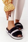 Platform Slippers With Fur And Cubic Zirconia Black Impress