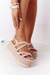 Sandals On A Braided Platform Beige Crazy In Love