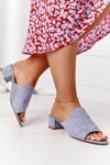 Suede Heeled Slippers Sergio Leone KL313 Blue