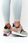 Suede Sport Shoes On A Platform GOE HH2N4002 Green-Gold