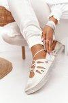Women's Leather Brogues Shoes Maciejka 04449-25 Beige-Gold