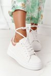 Women's Sport Shoes Sneakers On A Platform White-Gold Shine Bright